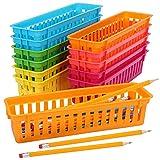 Belle Vous Cajas Plastico Almacenaje Papelería (Pack de 12) Cestas Almacenaje Bandeja Organizador de Distintos Colores – Para Lápices/Bolígrafos, Aulas, Escritorios, Oficina, Hogar y Maquillaje