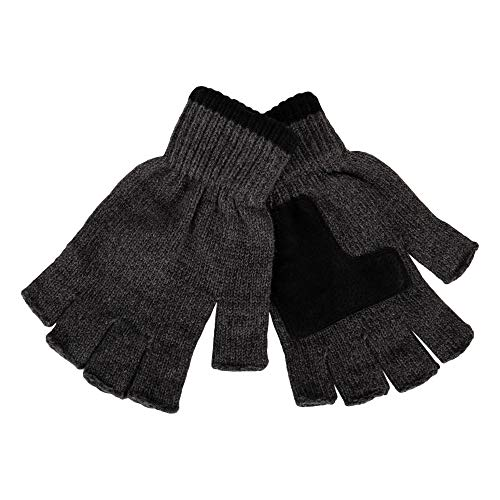 Levi's Men's Knit Fingerless Gloves, Marled Charcoal, One Size