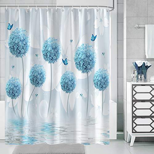 Bonhause Duschvorhang 180 x 180 cm Löwenzahn Blaue Blume Schmetterling Duschvorhänge Anti-Schimmel Wasserdicht Polyester Stoff Waschbar Bad Vorhang für Badzimmer mit 12 Duschvorhangringen