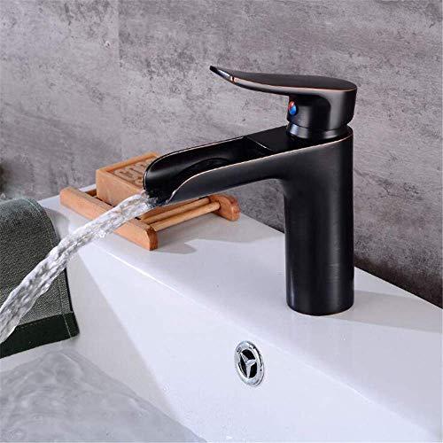 LanGuShi SLT0213 Antiguo/Negro Cascada Faucet Baño Single Handle Black Basin Mezclador Fregadero Grifo Frío y Caliente Calculadora Cascadora Cascada Tap 160 95mm Short Black