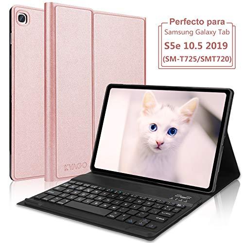 KVAGO Teclado Funda para Tablet Samsung Galaxy Tab S5e 10.5 Inch SM-T720 / T725[Diseño Español Ñ],Teclado Bluetooth Inalámbrico Magnético Desmontable para Samsung Galaxy Tab S5e, Oro Rosa