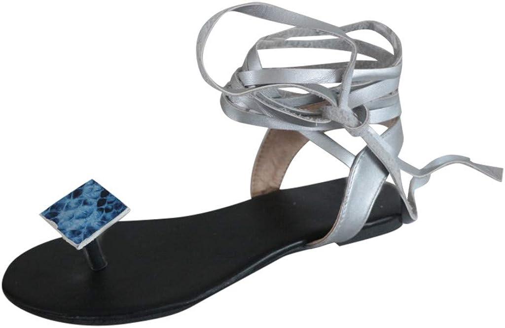 Sandals for Women Casual Summer Leopard Print Flat Beach Sandals Comfy Roman Sandal Shoes Flip Flops Slippers Lace-Up Flats