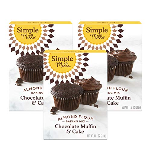 Simple Mills Almond Flour Baking Mix, Gluten Free Chocolate Cake Mix, Muffin pan ready, Made with whole foods, 3 Count (Packaging May Vary)