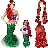 Ani·Lnc Peluca de sirena de moda larga ondulada rojo fiesta peluca de cosplay sintético con brazaletes