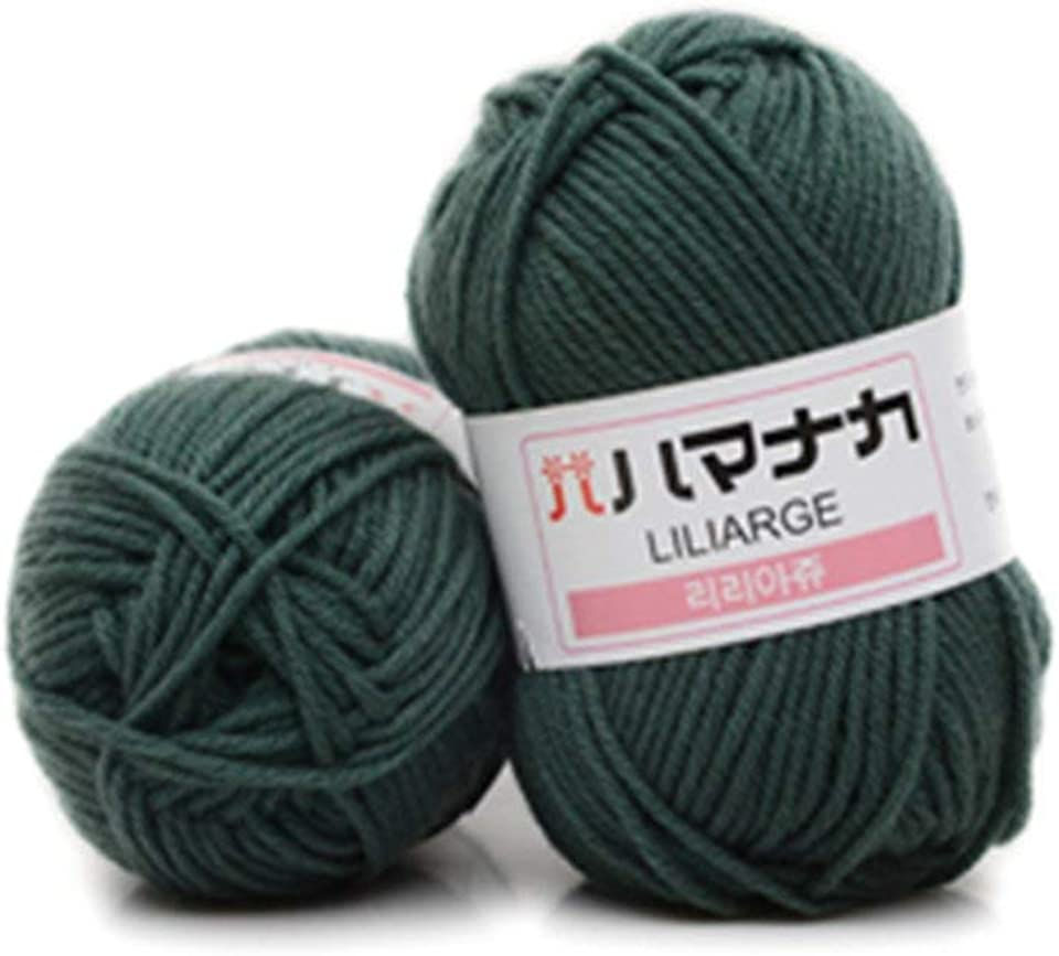 DDyna 4 Shares Combed Milk Cotton Yarn Comfortable Wool Blended Yarn Apparel Sewing Yarn Hand Knitting Scarf Hat Yarn - Army Green