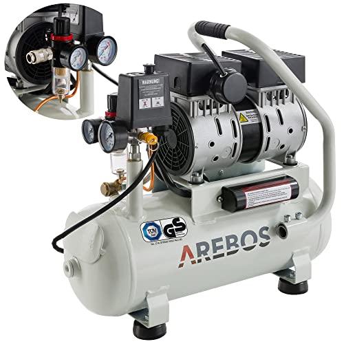 Arebos Compressore silenzioso   500 Watt   12 litri   senza olio   54,4 dB, 89 l/min   attacco rapido   certificazione TÜV Süd