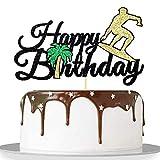 Migeaks black glitter happy birthday cake topper surfing theme birthday cake decoration