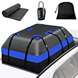 WARMQ Car Rooftop Cargo Carrier - 15 Cubic Feet Waterproof Vehicle Cargo Carrierswith Anti-Slip Mat, 10 Reinforced Straps, 6 Door Hooks for All Vehicle SUV with or Without Rack