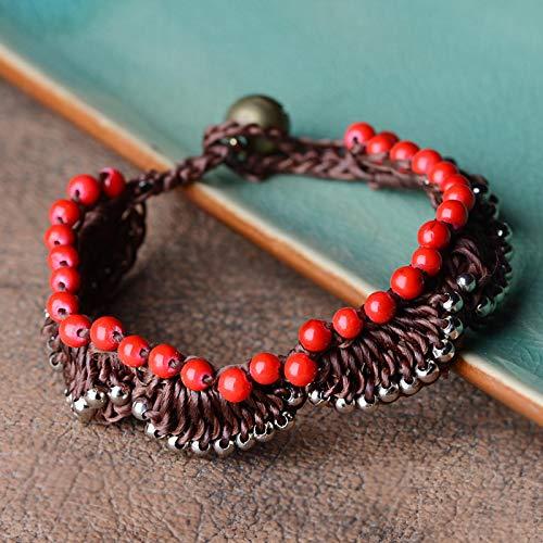 CLEARNICE Pulseras con dijes étnicos para Mujer, Brazalete con Gota de aleación de Zinc, Cadena de Cuerda de Piedra Natural roja, broches de Palanca, joyería Vintage, Longitud de Moda 17Cm
