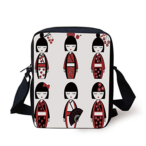 Girls,Unique Asian Geisha Dolls in Folkloric Costumes Outfits Hair Sticks Kimono Art Image,Black Red Print Kids Crossbody Messenger Bag Purse