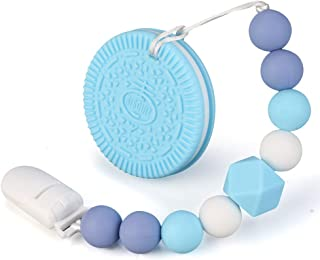 Baby Teething Toys BPA Free Silicone Teether Chew Egg with Pacifier Clip Cute and Effective Pain Relief Blue Cookie for Stylish Boy or Girl