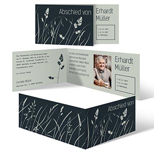 Individuelle Trauerkarten (20 Stück) Einladung Trauerfeier Karten - Wiesenblume
