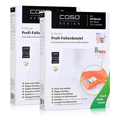 Caso Profi- Folienbeutel 20x30cm / 50 Beutel für Vakuumierer Caso (2er Pack)
