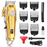 EZIGO Professional Hair Clippers Rechargeable Cordless Barber Hair clippers Hair Cutting Grooming kit With Precision Carbon Steel Blade Fresh Fade Haircuts 6 Combs Clippers (Gold)
