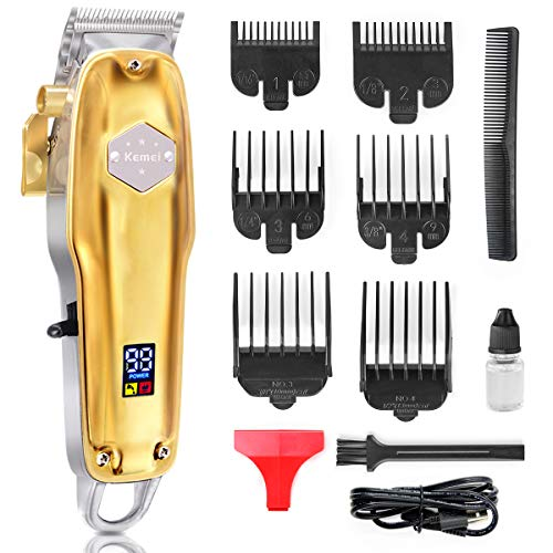 EZIGO Professional Hair Clippers Rechargeable Cordless Barber Hair clippers Hair Cutting Grooming kit With Precision Carbon Steel Blade Fresh Fade Haircuts 6 Combs Clippers LED Display Haircut Kit