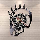 BFMBCHDJ Vintage Rude Dude Punk Skeleton Halloween Horror Decor Mohican Biker Tattoos Scary Skeleton Head Monster Vinyl Record Reloj de Pared
