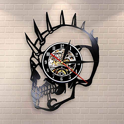 BFMBCHDJ Vintage unhöflichen Kerl Punk Skelett Halloween Horror Dekor Mohican Biker Tattoos beängstigend Skelett Kopf Monster Vinyl Schallplatte Wanduhr
