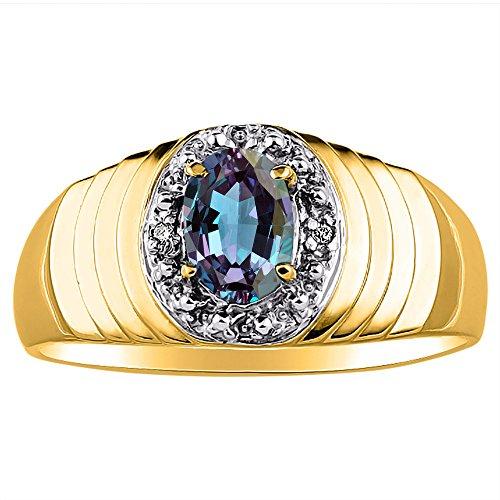 Diamond & Simulado Alejandrita Anillo 14 K Amarillo o Oro Blanco 14 K
