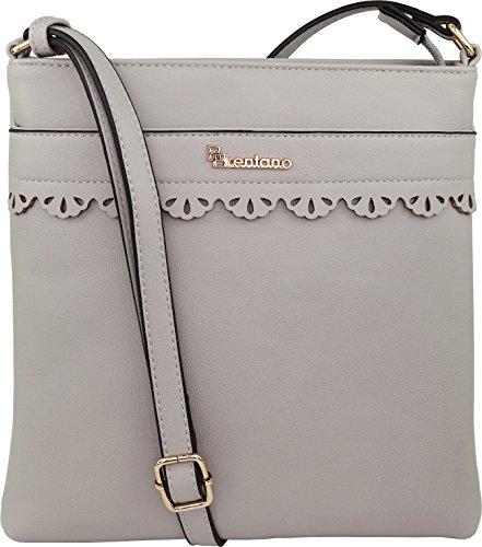 B BRENTANO Vegan Medium Crossbody Handbag Purse (Gray 1)
