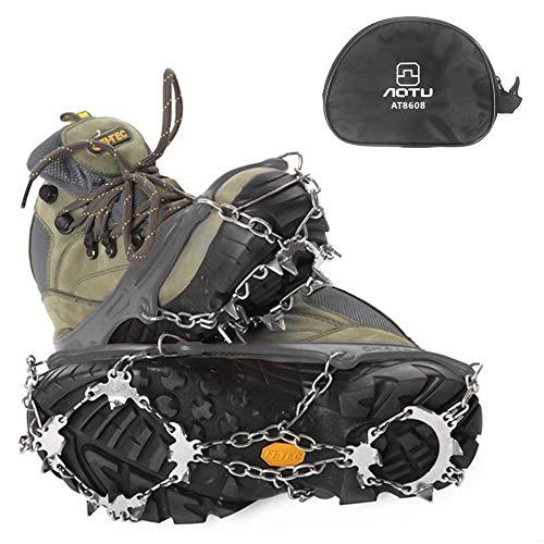 E-More Tacos de Hielo Crampons 18 Dientes Garras tracción Nieve empuñaduras Antideslizante Botas de Acero Inoxidable Pinchos Seguro para Senderismo Escalada Caminar Correr montañismo