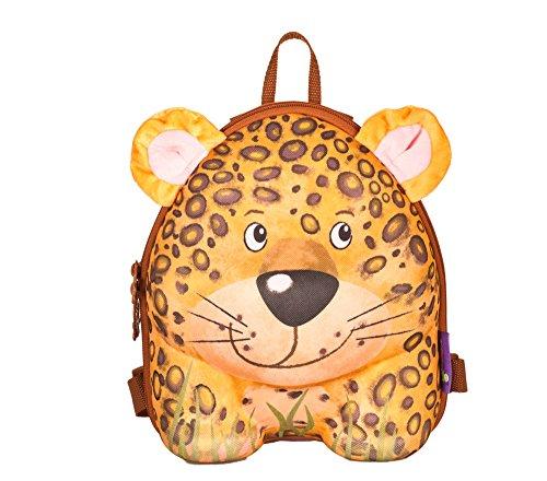 okiedog wildpack Kinderrucksack, Rucksack mit Plüschohren, Kita-Rucksack, aus Eva, Leopard gelb, ca. 22 x 27 x 12 cm