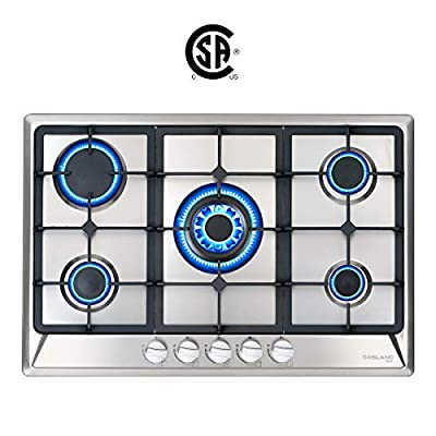 """30"""" Built-in Gas Cooktop, GASLAND Chef GH77SF 5 Burner Gas Hob, 30 Inch NG/LPG Convertible Natural Gas Propane Cooktops, High Power Burner Gas Stovetop with Thermocouple Protection, Stainless Steel"""