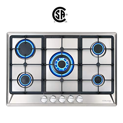 "Image of 30"" Gas Cooktop, GASLAND Chef GH77SF 5 Italy Sabaf Burners Built-in Gas Hob, 30 Inch Stainless Steel Propane Natural Gas Stovetop, LPG/NG Convertible Gas Range, Gas Cooker with Thermocouple Protection: Bestviewsreviews"