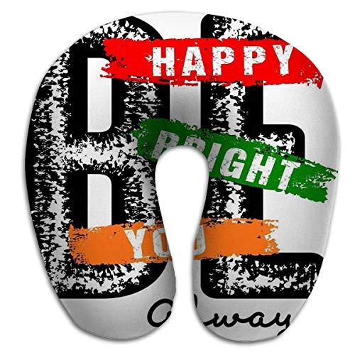 Cojín en Forma de U, diseño tipografía Be Happy Be Bright Be You Print Hombres Tipografía Be Happy Be Bright Be You