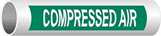 Compressed Air (White Legend On Green Background) Pipe Label Decal, 8x2 in. 5-Pack Vinyl for Pipe Markers by ComplianceSigns
