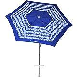 AMMSUN 8ft Fiberglass Ribs Commercial Grade Patio Beach Umbrella with Separate Sand Anchor Air- Vent & Carry Bag Navy...