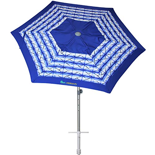 AMMSUN 8ft Fiberglass Ribs Commercial Grade Patio Beach Umbrella with Separate Sand Anchor Air- Vent & Carry Bag Navy Blue White Stripe