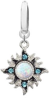 Fake Belly Navel Non Piercing Clip on White Synthetic Opal Blue gem Tribal Sun Burst Ring