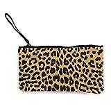 Flyup Unisex Lienzo Wristlet Monedero Embrague Monedero Monedero Bolsa Lápiz Bolsa Cosmética Cool Animal Leopard Print