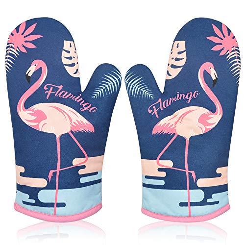 Manopla Horno para Cocina, Oven Gloves Guantes de Cocina Guantes Horno Dobles Resistente al Calor Guantes Cocina Profesional Manopla Doble Horno Guante de Cocina Flamenco 1 Par Azul