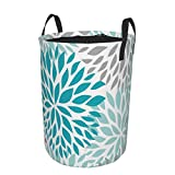 Janrely Large Round Storage Basket with Handles,Dahlia Pinnata Fleur Turquoise Bleu Et Gris,Waterproof Coating Organizer Bin Laundry Hamper for Nursery Clothes Toys 21.5'x 16.5'