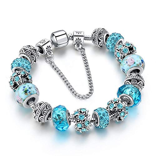 Armband sieraden Nieuwe Blauwe Kristal Kralen Bedelarmbanden & Armbanden Zilveren Armbanden Voor Vrouwen Femme Bruiloft Sieraden Armband