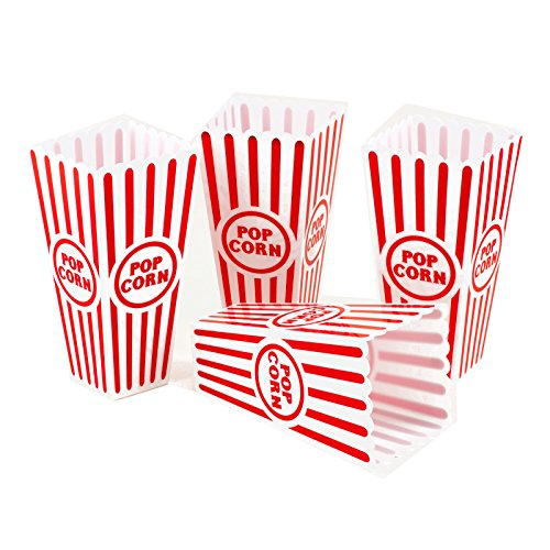 Product Image 1: Tytroy 4 Piece Plastic Reusable Movie Theater Style Popcorn Container Set