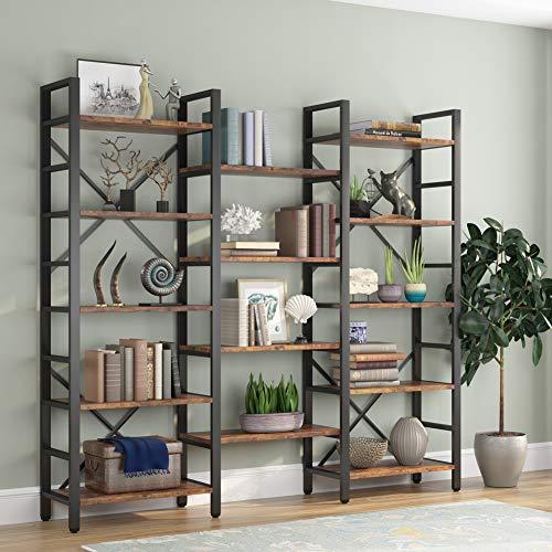 Tribesigns Triple Wide 5-Shelf Bookcase, Etagere Large Open Bookshelf Vintage Industrial Style...