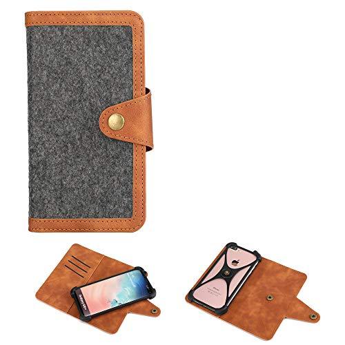 K-S-Trade Handy-Hülle + Kopfhörer Kompatibel Mit LG Electronics Q7 Alfa Schutz-Hülle Filz-Hülle Kunst-Leder Dunkelgrau Braun (1x)