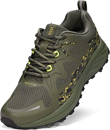 WHITIN Mens Camo Trail Running Hiking Shoes, Size 11 Comfortable Fitness Lightweight Breathable Footwear Mesh Male Sneaker Athletic Jogging Tennis Sport Cushioning Lace Up Camouflage Green 45