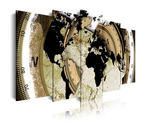 DekoArte 63 - Cuadros Modernos Impresión de Imagen Artística Digitalizada | Lienzo Decorativo para Tu Salón o Dormitorio | Estilo Mapamundi Mapa del Mundo | 5 Piezas 150 x 80 cm