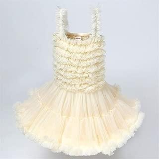 Luxury Tutu Princess Dress Cute Girls Dresses Summer Children's Princess Dress Tutu Veil Sling Age Ceremony ryq (Color : Beige, Size : 90cm)