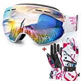 Snowboard Ski Goggles and Glover for Men Women and Youth
