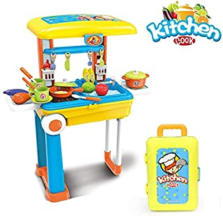 O.B Toys&Gift 2 in 1 Little Chef Kitchen Table Toy Playset Travel Trolley Case w/ Extended Handle Carrying Case , Light , Sound & Accessories , Kids Kitchen Play Set (Unisex Kitchen Set)