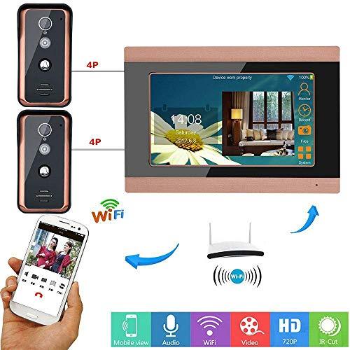 2 Ourdoor Camera 1 Monitor 7 inch Wired WiFi Video Door Phone Doorbell Intercom System 1000TVL IR Camera Support Remote APP intercom Unlocking Recording Snapshot