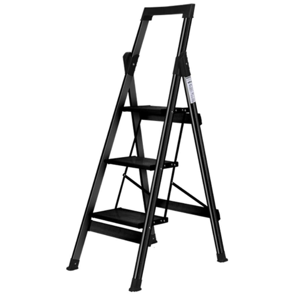 Escalera plegable taburete banqueta Escalera de tijera negra con pasamanos, 3 pasos de aluminio Plegable Taburete para trabajo pesado para adultos Ancianos, cocina, 150 kg: Amazon.es: Bricolaje y herramientas