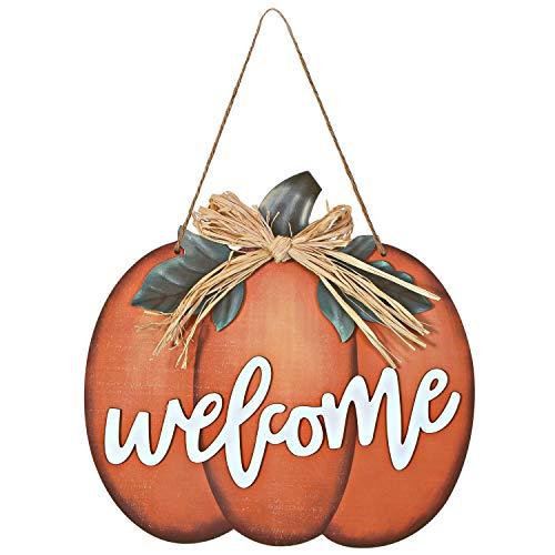 Cartel de Bienvenida de Calabaza de Madera Decoración de Calabaza Plana de Cosecha, Interior y Exterior para Halloween Decoración Acción de Gracias Cosecha Otoño Cocina Hogar