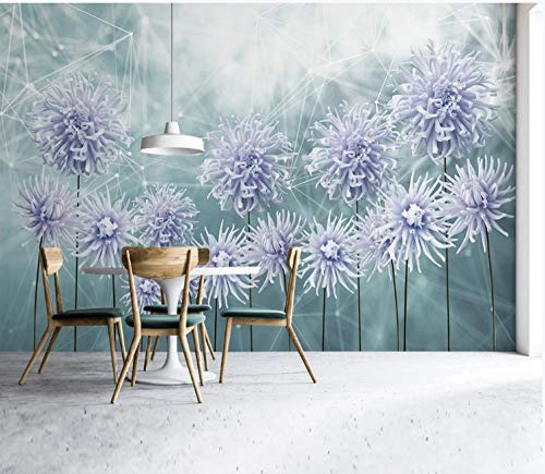 3D Wallpaper Canvas Art Print Wall Mural Poster Lilac Hand Painted Geometric Flowers Photo Wallpapers Murals Picture Design Modern 320X230Cm