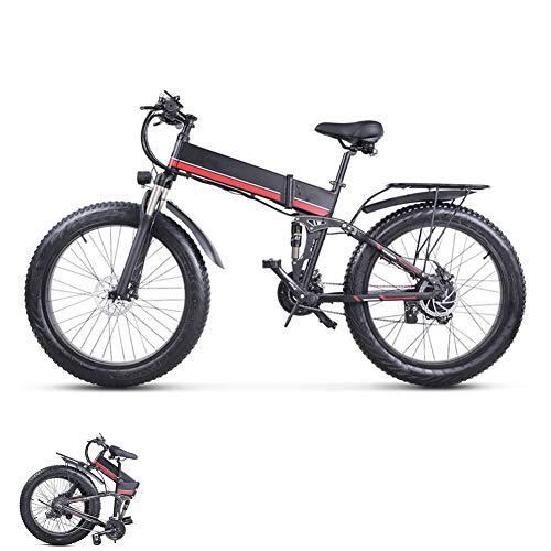 LCLLXB 26 Pulgadas neumático Gordo Bicicleta eléctrica 1000W 48V Nieve E-Bici Beach Cruiser Hombre Mujeres Montaña e-Bike Pedal Assist, batería de Litio Frenos de Disco hidráulicos