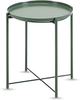 Altrobene 17.32 Inch Diameter Thick Metal Round End/Side Table, Snake/Coffee/Telephone Table, Night Stand with Removable Tray, Atrovirens